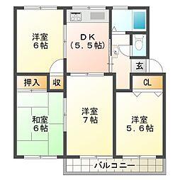 神陵台西住宅60号棟[1階]の間取り
