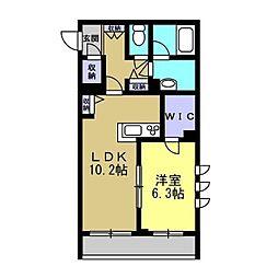 仮)川崎区塩浜2丁目シャーメゾン 2階1LDKの間取り
