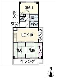 マンション冨田[3階]の間取り