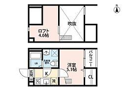 愛知県名古屋市中村区長筬町6丁目の賃貸アパートの間取り