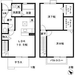 [テラスハウス] 東京都羽村市羽西1丁目 の賃貸【/】の間取り