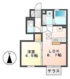 ラスパシオ亀島[1階]の間取り