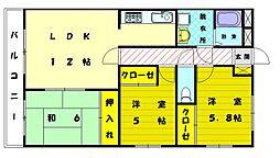 三苫ハイツ2号館[5階]の間取り