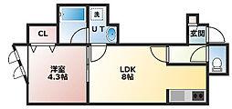 ル・ストゥディオ 2階1LDKの間取り