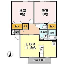 長野県松本市大字惣社の賃貸アパートの間取り