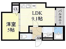 大阪モノレール 大日駅 徒歩10分の賃貸アパート 3階1LDKの間取り