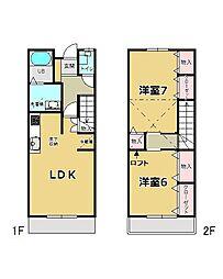 [テラスハウス] 東京都青梅市新町1丁目 の賃貸【/】の間取り