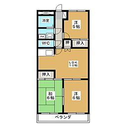 岐阜県関市鋳物師屋5の賃貸マンションの間取り