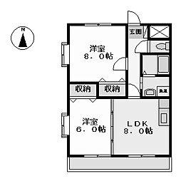 グランドヒルズ江松 (グランドヒルズエマツ)[4階]の間取り
