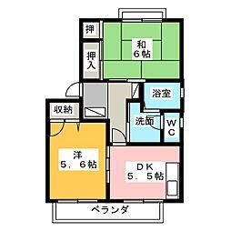 リバティKAZU B[2階]の間取り