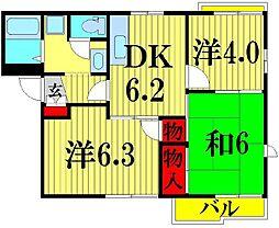 埼玉県草加市青柳5丁目の賃貸アパートの間取り