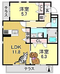 シャーメゾンクオレール[1階]の間取り