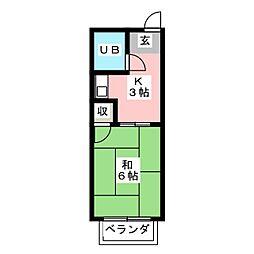 リバーハイツ[1階]の間取り
