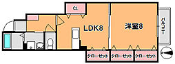 奈良県奈良市四条大路南町の賃貸アパートの間取り