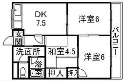 滋賀県栗東市下鈎の賃貸マンションの間取り
