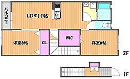 JR宇野線 備前西市駅 徒歩33分の賃貸アパート 2階2LDKの間取り