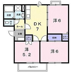 栃木県下都賀郡壬生町落合2丁目の賃貸アパートの間取り