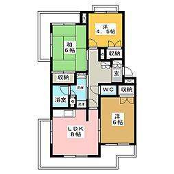 コーポたんのII[4階]の間取り
