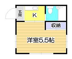 コーポ朝志ヶ丘[3階]の間取り