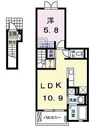 埼玉県さいたま市南区内谷5丁目の賃貸アパートの間取り