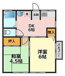 東京都江戸川区鹿骨5丁目の賃貸アパートの間取り