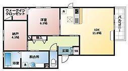 セクレール北本町B棟[3階]の間取り