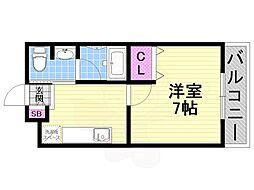 松尾ハイツ寝屋川 1階1Kの間取り