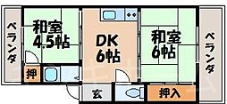 広島県広島市安芸区船越1丁目の賃貸マンションの間取り