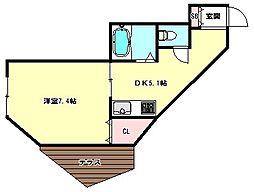 兵庫県神戸市兵庫区石井町1丁目の賃貸アパートの間取り