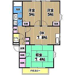 東京都東大和市芋窪3丁目の賃貸アパートの間取り