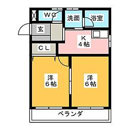 クリタビル[4階]の間取り