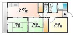 兵庫県神戸市垂水区下畑町字雲星の賃貸マンションの間取り