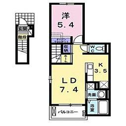 埼玉県川越市かし野台2丁目の賃貸アパートの間取り
