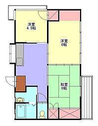 岡部アパート[2階]の間取り