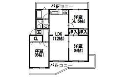 南円明寺ヶ丘団地12棟[106号室]の間取り
