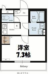 東武伊勢崎線 北越谷駅 徒歩14分の賃貸アパート 2階1Kの間取り