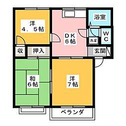 ローズハイツA[2階]の間取り