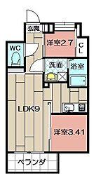 Studie TOBIHATA[906号室]の間取り