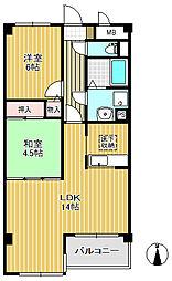上杉五番館 3階2LDKの間取り