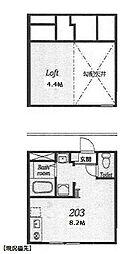 神奈川県横浜市都筑区仲町台3丁目の賃貸アパートの間取り
