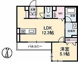 JR山陽本線 五日市駅 徒歩16分の賃貸マンション 3階1LDKの間取り