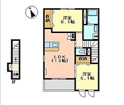 兵庫県姫路市飾磨区中島3丁目の賃貸アパートの間取り
