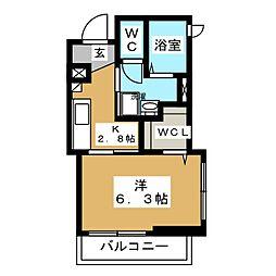 神奈川区白楽シャーメゾン(仮) 3階1Kの間取り