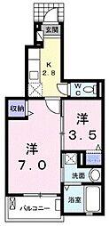 埼玉県志木市中宗岡4丁目の賃貸アパートの間取り