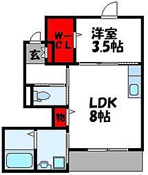 仮称)古賀市中央2丁目アパート[106号室]の間取り