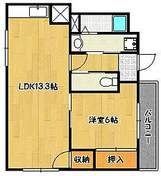 兵庫県神戸市北区南五葉6丁目の賃貸マンションの間取り