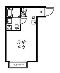 アンソレイエ西小山 3階ワンルームの間取り
