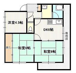 広島県広島市西区井口台2丁目の賃貸アパートの間取り