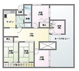 愛知県名古屋市名東区植園町1丁目の賃貸マンションの間取り