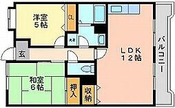 岡山県岡山市中区湊の賃貸マンションの間取り
